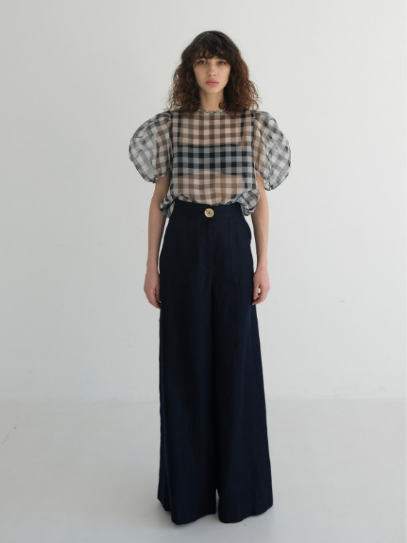 MEGAN LINEN WIDE PANTS_NAVY