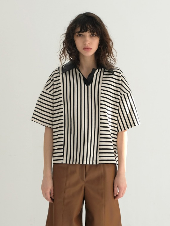 POSIE STRIPE COLLAR TOP