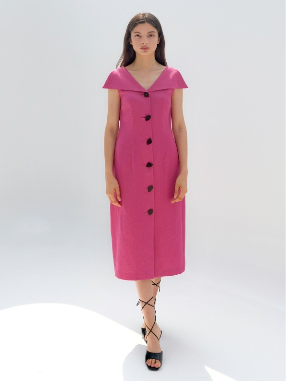 PENNY COLLAR VOLUME DRESS_MAGENTA