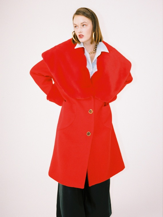 LUCY BIG FUR COLLAR COAT_RED