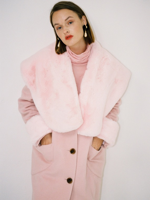 LUCY BIG FUR COLLAR COAT_PINK