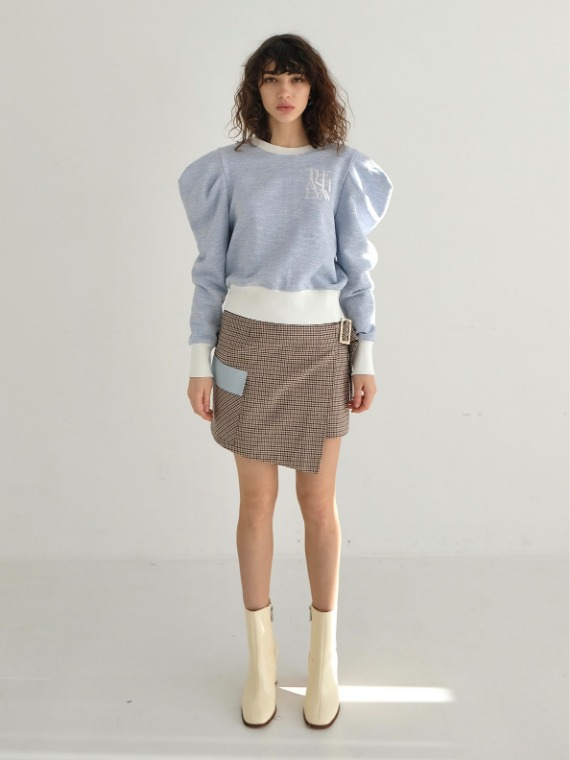 CHARLIE WRAP MINI SKIRT_CHECK BROWN