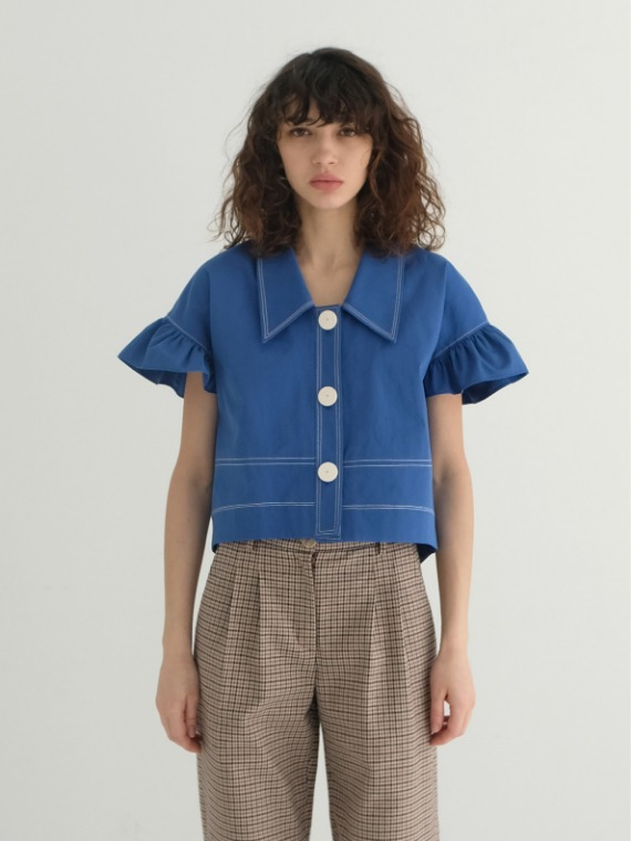 BILLIE FRILLED BLOUSE_ROYAL BLUE