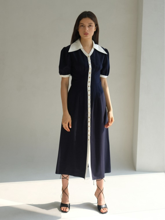 ERIN COLLAR MIDI DRESS_NAVY