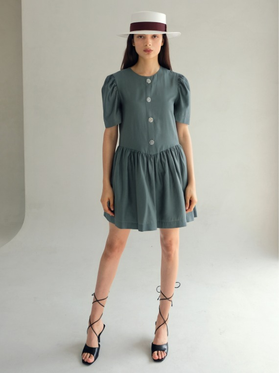 SELINA BUTTON MINI DRESS_JADE