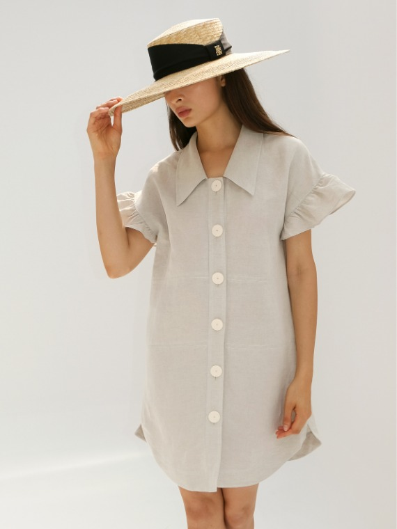 JENNY FRILLED TUNIC DRESS_NATURAL
